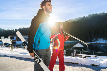 Coupe Ski And Snowboard Resort Winter Snow Mountain Mix Race Man And Woman Holiday Extreme Sport Vacation