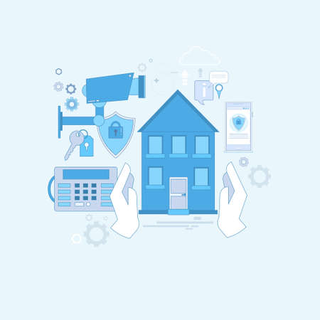 guard house: Guard Home Security Protection Insurance Web Banner Vector Illustration