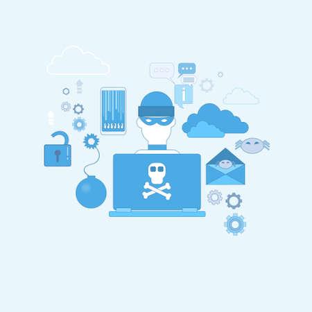 computer viruses: Hacker Activity Computer Viruses Data Protection Privacy Internet Information Security Web Banner Vector illustration