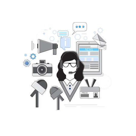 web portal: News Internet Portal Application Web Banner Vector Illustration