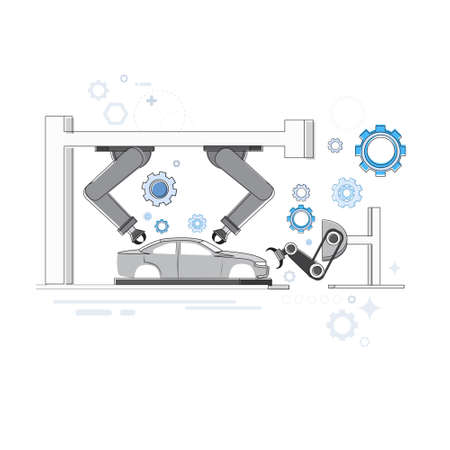 industrial robots: Manufacture Robots Industrial Automation Production Web Banner Vector Illustration