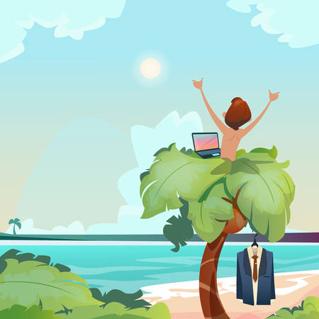 remote view: Man Freelance Remote Working Place Palm Tree Using Laptop Beach Summer Vacation Tropical View Flat Vector Illustration
