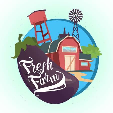 Farmland, Organic Eco Fresh Farm Logo Flat Vector Illustration