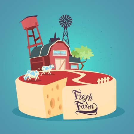 desing: Milk Dairy Products Eco Fresh Farm Banner Flat Vector Illustration