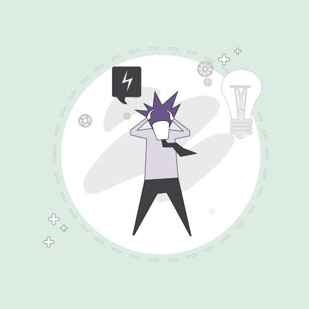 pondering: Business Man Hold Head Pondering Problem Concept Vector Illustration Illustration