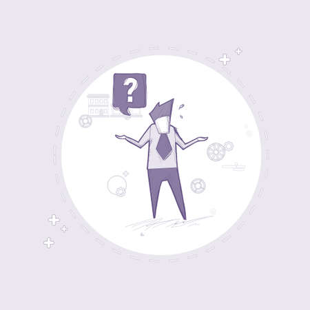 pondering: Business Man With Question Mark Pondering Problem Concept Vector Illustration
