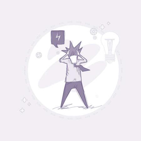 Business Man Hold Head Pondering Problem Concept Vector Illustration Illustration
