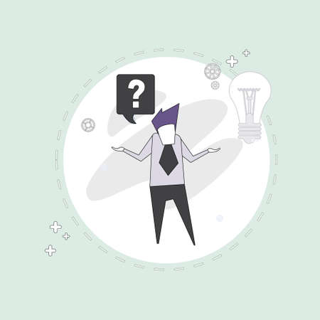 guess: Business Man With Question Mark Pondering Problem Concept Vector Illustration