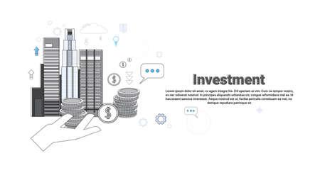 investor: Investment Money Investor Business Web Banner Vector Illustration