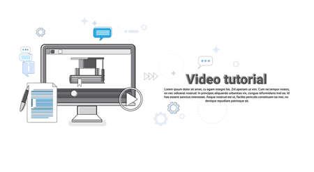 editor: Video Tutorial Editor Concept Modern Technology Web Banner Vector Illustration