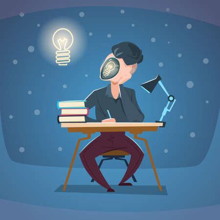 Business Man Workplace New Idea Concept Light Bulb Face Flat Vector Illustration