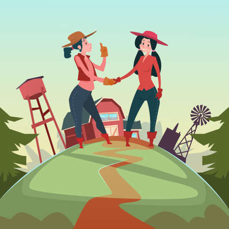 Farmer Country Woman Hand Shake Agriculture Farmland Background Flat Vector Illustration