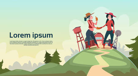 peasant woman: Farmer Country Woman Hand Shake Agriculture Farmland Background Flat Vector Illustration