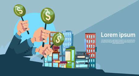 Hand Group Hold Green Money Business Funding Modern City Office Center Flat Vector Illustration  イラスト・ベクター素材