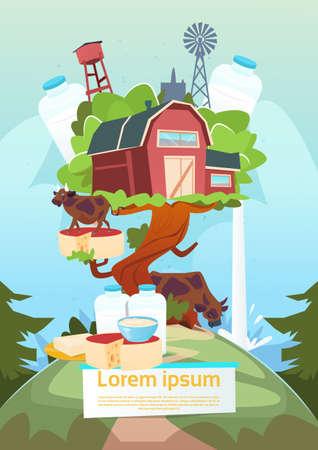 milkman: Farm House On Big Tree Environmental Farmland, Organic Eco Fresh Farm Flat Vector Illustration