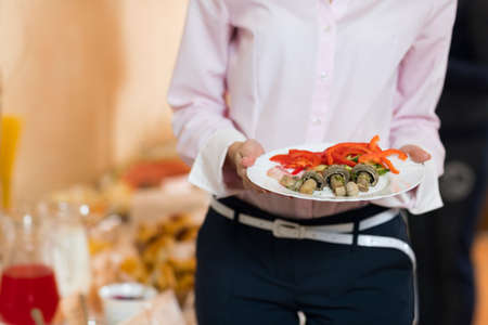 Businesswoman Hold Plate Catering Buffet Food Restaurant, Business Banquet At Company Event Celebration Stock Photo