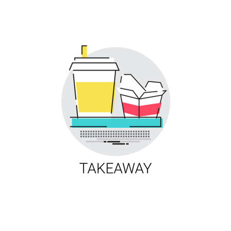 Restaurant Take Away Service Food Delivery Icon Vector Illustration