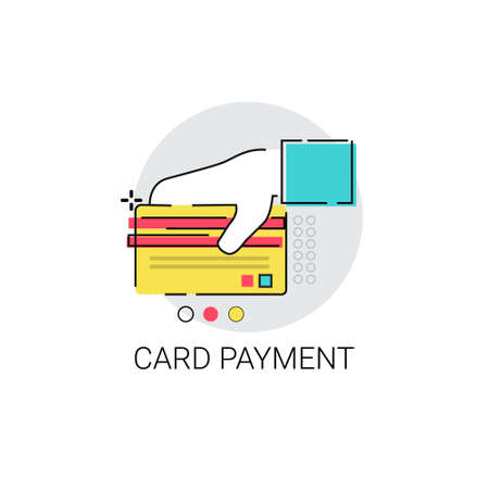 hold hand: Credit Bank Card Payment Hold Hand Vector Illustration