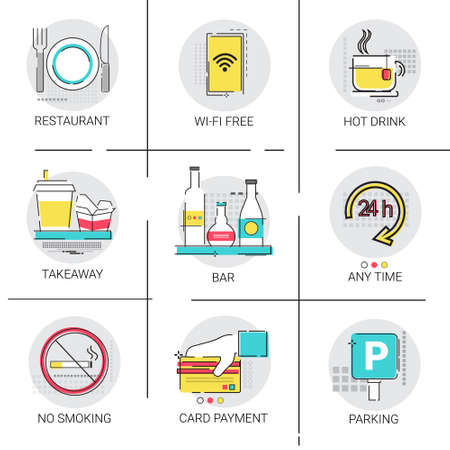 Any Time Open Restaurant Bar Service Public Sign Icon Set Vector Illustration