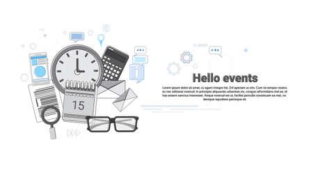 web portal: Hello Events News Portal Concept Banner Thin Line Vector Illustration Illustration