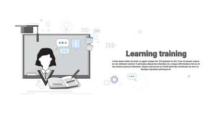 Learning Training Courses Education Web Banner Vector Illustration 矢量图像