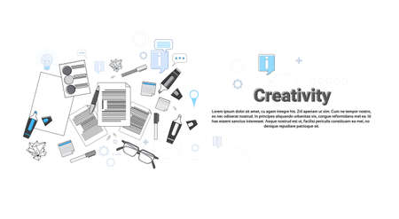 creativity: Creativity Process New Creative Idea Business Concept Banner Thin Line Vector Illustration Illustration