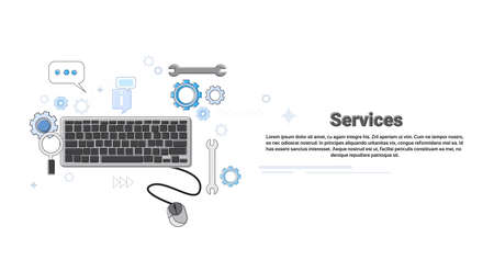 computer banner: Computer Technology Technical Service Business Concept Banner Thin Line Vector Illustration