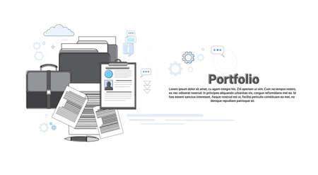 coworker banner: Portfolio Professional Occupation Business Web Banner Vector Illustration Illustration