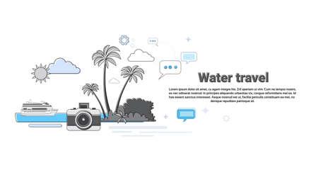 caribbean cruise: Water Travel Cruise Tourism Web Banner Vector Illustration Illustration