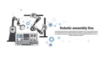 Illustration robotique ligne Assemblée Industrie Automatisation industrielle production Web bannière vecteur