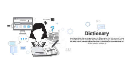 Dictionary Vocabulary Technology Translation Tool Web Banner Vector Illustration Illustration