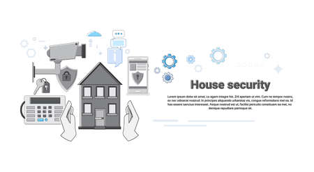 guard house: House Security Protection Insurance Web Banner Vector Illustration