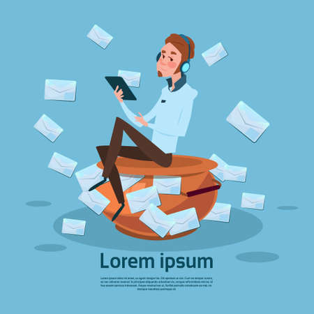 Man Using Tablet Computer Send Message Internet Texting Chat Communication Flat Vector Illustration Illustration