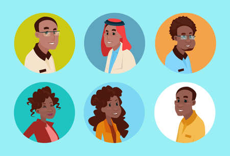 mixed race girl: Ethnic Business People Group Icon Set Mix Race Businesspeople Team Flat Vector Illustration