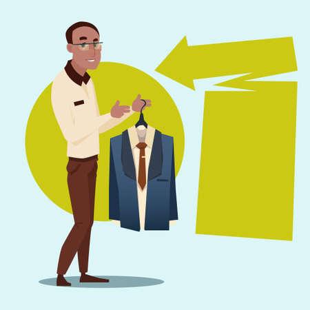 African American Business Man Hold Forma Wear Costume Mix Race Businessman Recruitment Flat Vector Illustration Illustration