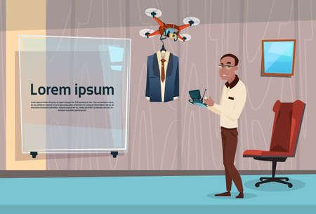 Hombre de negocios africano americano con aviones no tripulados Entrega Formal Wear Traje Ilustración vectorial Flat