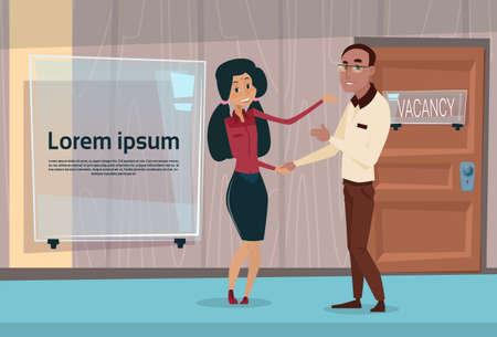 african american handshake: Mix Race Businesspeople Handshake African American Business Man And Indian Businesswoman Agreement Deal Flat Vector Illustration