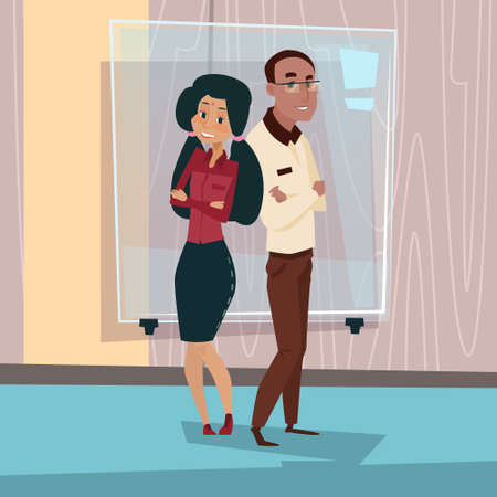 mix: Mix Race Businesspeople Couple African American Business Man And Indian Businesswoman Flat Vector Illustration