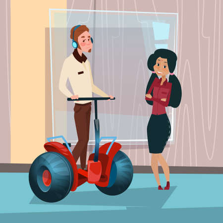 Mix Race Businesspeople Ride Electric Scooter Modern Transport Office Interior Flat Vector Illustration