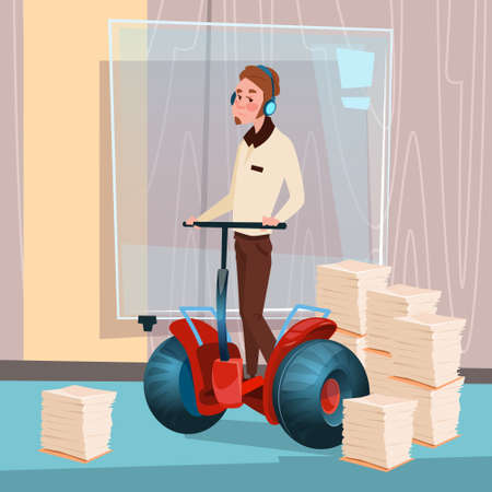 paperwork: Business Man Ride Electric Scooter Modern Transport Office Interior Paperwork Flat Vector Illustration