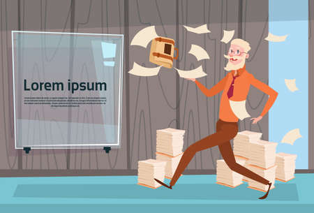 overload: Senior Busy Business Man Run Throwing Paper Documents Paperwork Flat Vector Illustration Illustration
