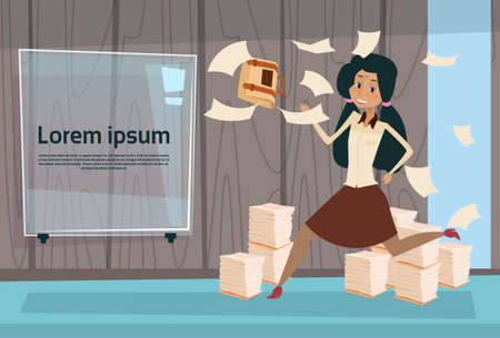 overload: Indian Busy Business Woman Run Throwing Paper Documents Paperwork Flat Vector Illustration