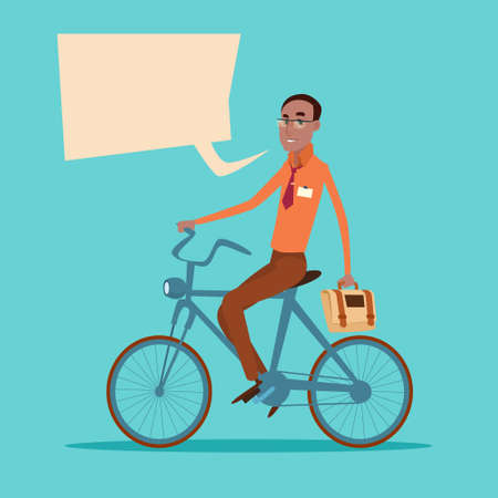 african business: African American Businessman Business Manager Ride Bicycle Flat Vector Illustration