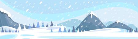 Winter Mountain Landscape White Snow Banner Flat Vector Illustration