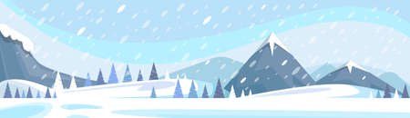 Winter Mountain Landscape White Snow Banner Flat Vector Illustration