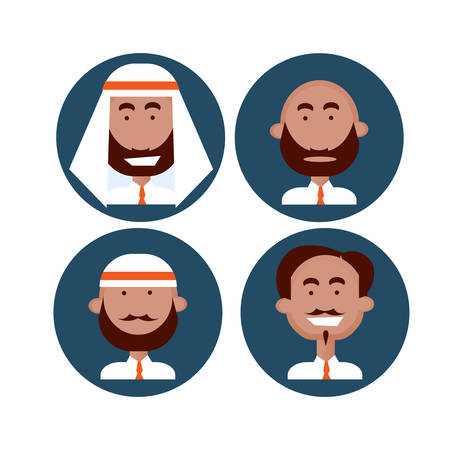 Ethnic Business People Group Icon Set Mix Race Man Businesspeople Team Flat Vector Illustration Illustration