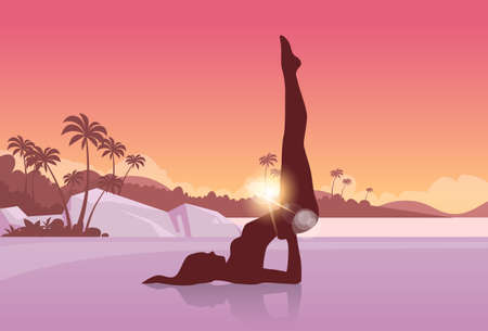Yoga Sport Fitness Woman Exercise Workout Silhouettes Girl Vector Illustration