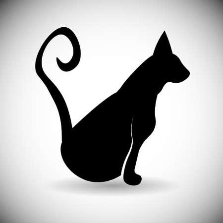 Black Silhouette Cat Animal Pet Web Icon Flat Vector Illustration