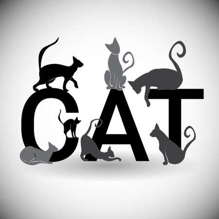 Profili l'illustrazione piana di vettore dell'icona animale di web dell'animale domestico del gatto della siluetta