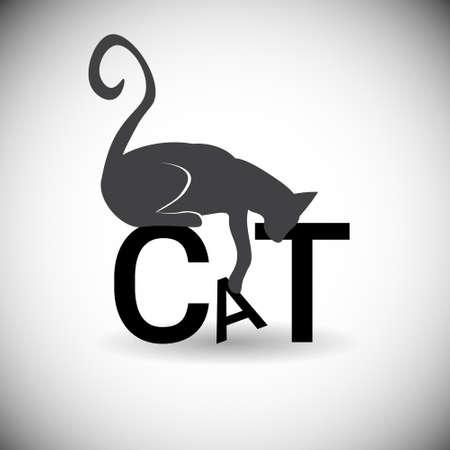 Silhouette Cat Animal Pet Web Icon Flat Vector Illustration